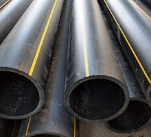 Plastic pipes of large diameter black closeup by vladromensky
