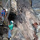 Fixing the Flood Damage - High Gorge - Lake Placid New York by Debbie Pinard