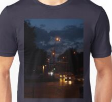 Cars with headlights on driving on city road Unisex T-Shirt