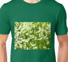 Selective focus of green field Unisex T-Shirt
