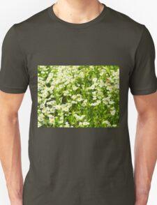 Selective focus of green field T-Shirt