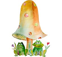 Frogs & Toadstool Photographic Print