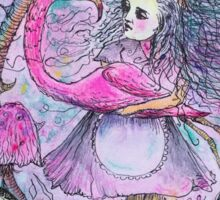 Alice And The Flamingo In the Dodo's Garden /Purple  Sticker