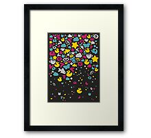 Toys falling like candies - black Framed Print