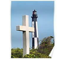 Cross and Lighthouse Juxtaposition Poster