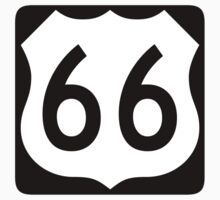 US Route 66 Sign, New Style One Piece - Short Sleeve