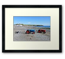 Boat tractors on Aberdaron beach, Llyn, North Wales Framed Print