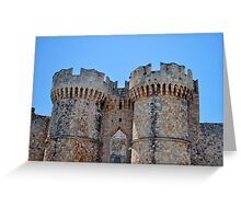 Medieval fortress of Rhodes. Greeting Card