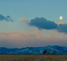 Moonset Over The Foothills by Gregory J Summers