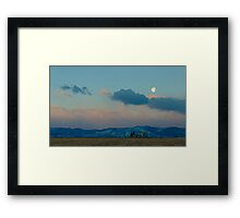 Moonset Over The Foothills Framed Print