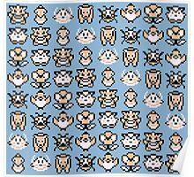 Pokémon Menu Sprites (Blue) Poster