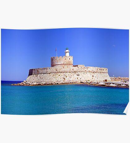 Fort Saint Nicholas, Rhodes, Greece. Poster