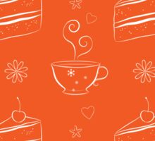 Seamless pattern with cakes and teacups Sticker