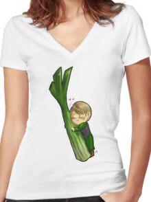 Hannibal vegetables - Celery Women's Fitted V-Neck T-Shirt