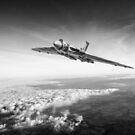Vulcan in flight, black and white version by Gary Eason