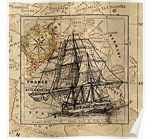 Old Map Sailing Ship Art Poster