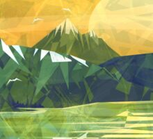 Mountain, lake and Sunset  Sticker