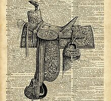 Vintage Horseriding Saddle, Dictionary Art, Antique Item by DictionaryArt