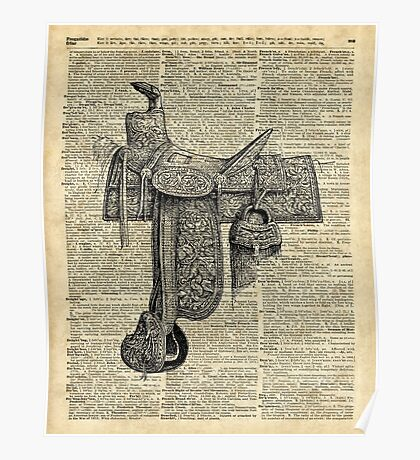 Vintage Horseriding Saddle, Dictionary Art, Antique Item Poster