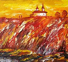The Red Hill - Landscape 1989 by Andrei Mundrea