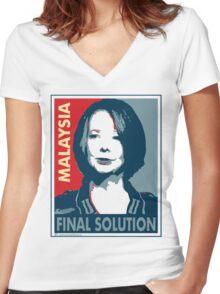 Julia - Final Solution, Cream Women's Fitted V-Neck T-Shirt