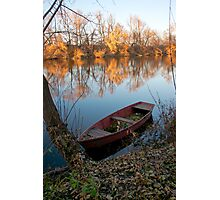 Autumn landscape of the river with an old boat Photographic Print
