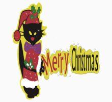 Merry Christmas txt Black cat vector art Kids Clothes