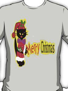 Merry Christmas txt Black cat vector art T-Shirt