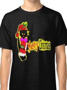 Merry Christmas txt Black cat vector art Classic T-Shirt