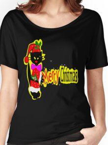 Merry Christmas txt Black cat vector art Women's Relaxed Fit T-Shirt