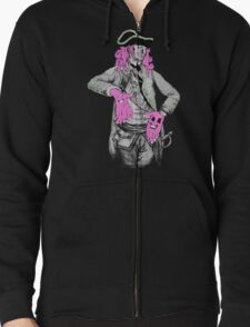 Portrait of Colonial Officer with Large Pink Face-Hands T-Shirt