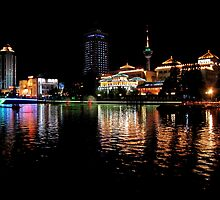 Night Lights, Canal, Nantong, Jiangsu by DaveLambert