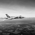 Vulcan in flight 2, black and white version by Gary Eason