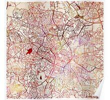 Birmingham map watercolor Poster