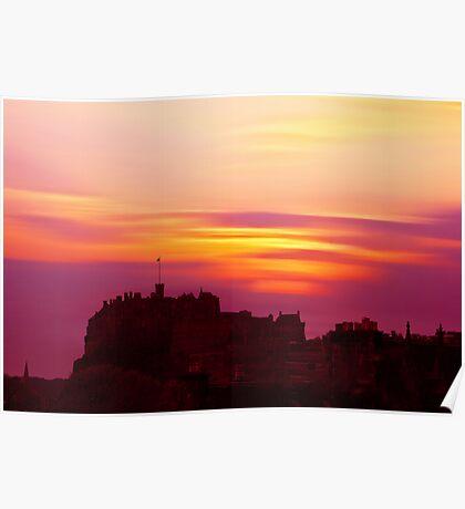 Edinburgh Castle Sunset Poster