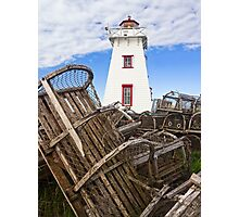 Lighthouse and Old Lobster Traps, North Rustico, PEI Photographic Print