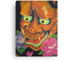 Hannya Mask  And  Peony Flowers Canvas Print
