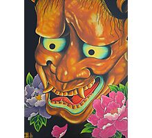 Hannya Mask  And  Peony Flowers Photographic Print