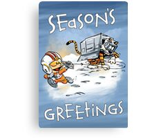 Attack of the Deranged Killer Snow Walkers - Holiday card Canvas Print