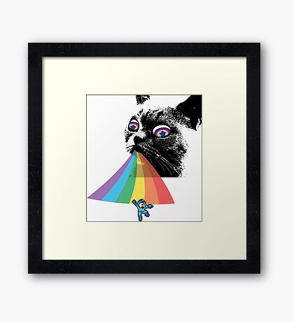 Rainbow Cat vs Mega Man Framed Print