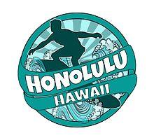 Honolulu Hawaii teal surfer logo by artisticattitud