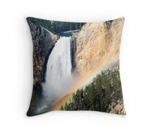 Morning Rainbow Over Lower Falls of the Yellowstone Throw Pillow