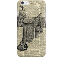 Vintage Horseriding Saddle, Dictionary Art, Antique Item iPhone Case/Skin