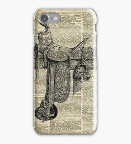 Vintage Horseriding Saddle, Dictionary Art, Antique Item iPhone Case/Skin