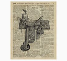 Vintage Horseriding Saddle, Dictionary Art, Antique Item Baby Tee