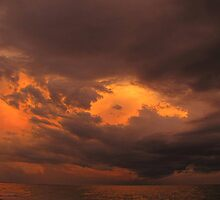 Evening sky after sunset and before thunderstorm by Irina777