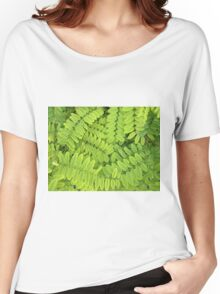 Bright green leaves and small acacia with dew drops Women's Relaxed Fit T-Shirt