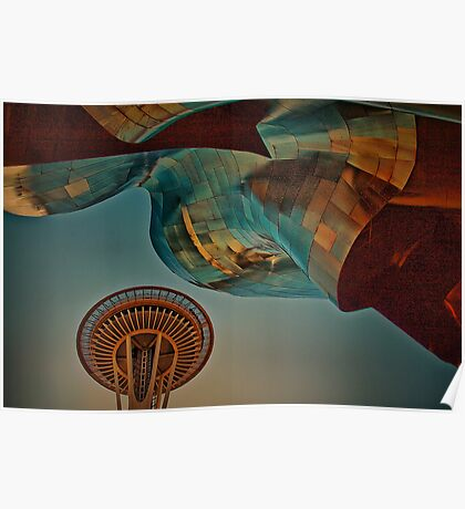 USA. Seattle. Space Needle & Museums. Poster