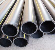 Big black pipe closeup plastic large diameter for the repair by vladromensky