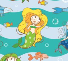 Pattern with mermaids. Sticker